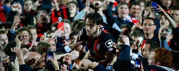 Bournemouth's fans invaded the pitch at full-time