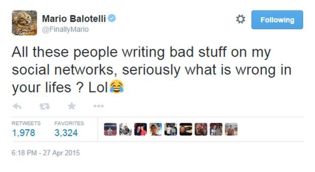 Mario Balotelli's Twitter page