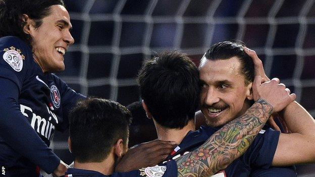 PSG players Zlatan Ibrahimovic, Edison Cavani and Javier Pastore