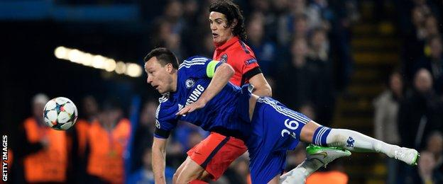 Chelsea captain John Terry in action against Paris Saint Germain