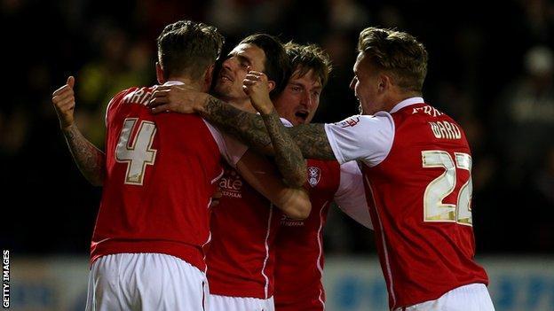 Matt Derbyshire celebrates scoring for Rotherham against Reading