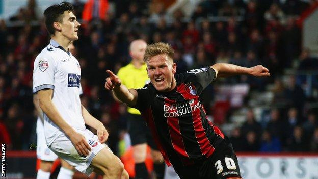 Matt Ritchie celebrates scoring for Bournemouth against Bolton