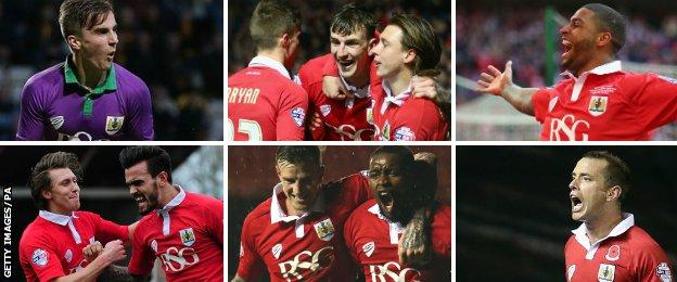 Bristol City players celebrate