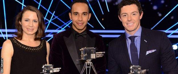 Jo Pavey (third), Lewis Hamilton (winner) and Rory McIlroy (runner-up) at the 2014 Sports Personality of the Year