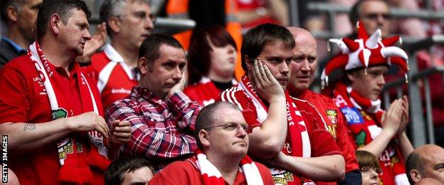 Wrexham fans after the 2013 Conference play-off defeat by Newport