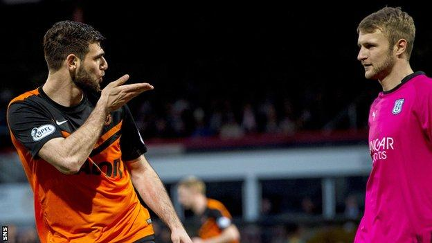 Nadir Ciftci celebrates a goal with a kiss directed at Dundee goalkeeper Scott Bain