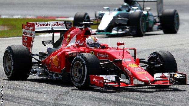 Sebastian Vettel in action at the Malaysian Grand Prix