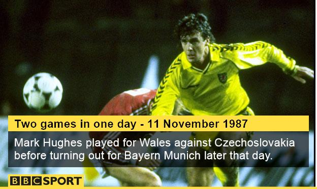Mark Hughes in action for Wales in their 2-0 Euro 88 qualifying defeat against Czechoslovakia in Prague