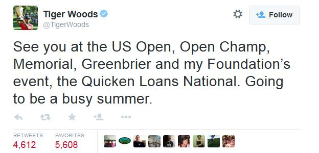 Tiger Woods announced he would play five tournaments this summer on Twitter