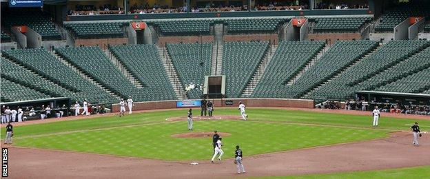 Baltimore Orioles v Chicago White Sox in front of an empty stadium