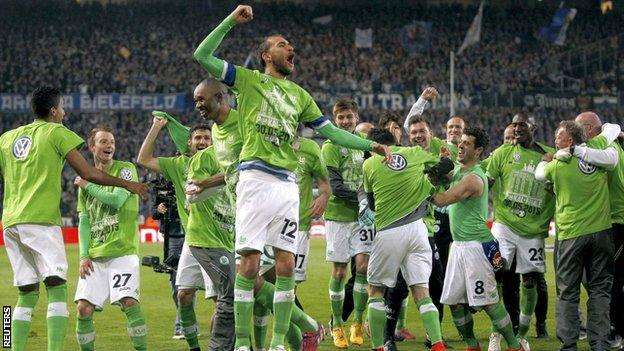 Wolfsburg players celebrate