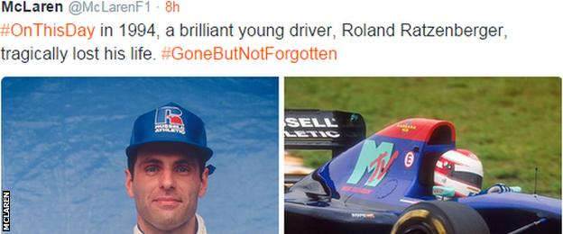 McLaren remember former driver Roland Ratzenberger