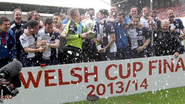 The New Saints celebrate victory in the 2014 Welsh Cup final
