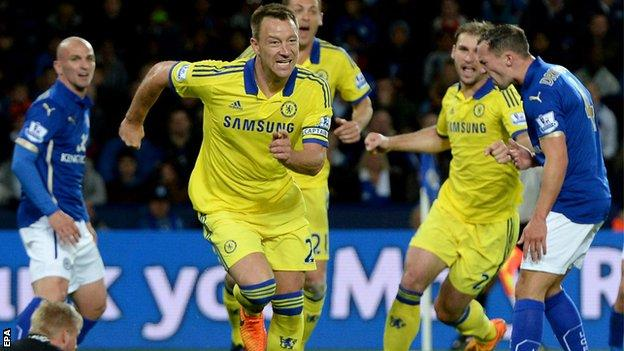 Chelsea defender John Terry scores against Leicester City