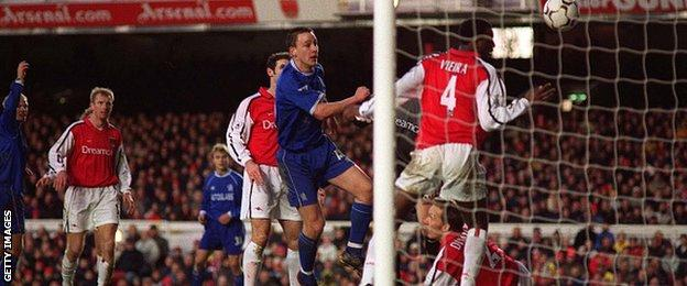 John Terry's first league goal for Chelsea came in a 1-1 draw at Arsenal on 13 January 2001