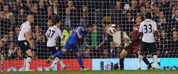John Terry scored two goals in a 3-0 win at Fulham on 17 April 2013