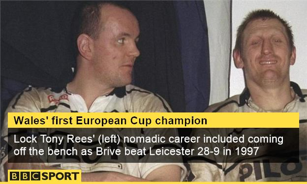 Tony Rees (l) and Loic Van Der Linden celebrate Brive's 1997 win