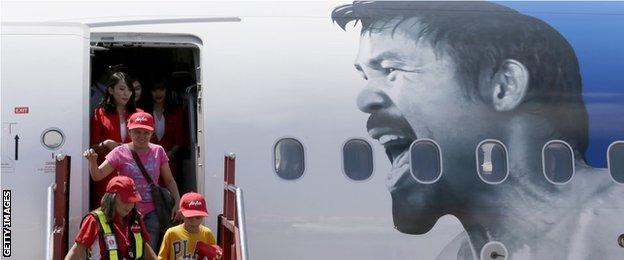 Pacquiao image on the side of a Philippines airline