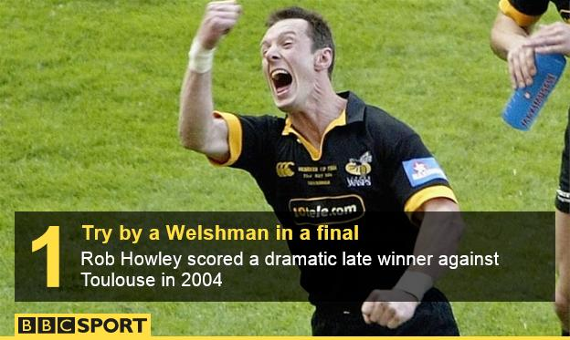 Rob Howley celebrates his late winner against Toulouse in 2004