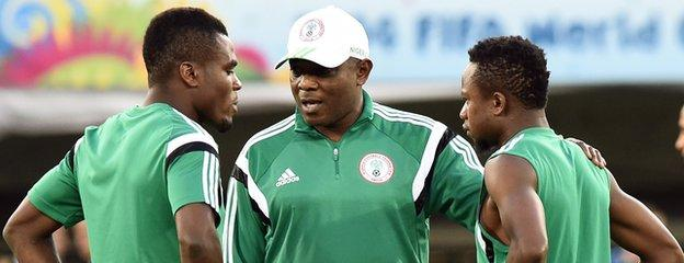 Keshi (centre) is back in charge and must motivate the players after a disappointing spell