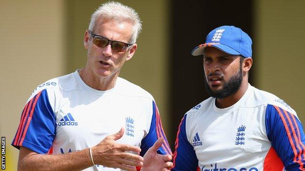 Adil Rashid and England coach Peter Moores