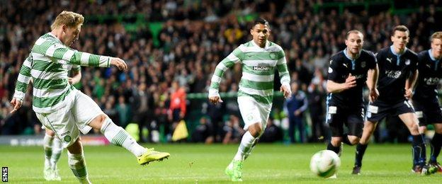 Kris Commons made it 3-0 from the penalty spot after goals from Scott Brown and Leigh Griffiths