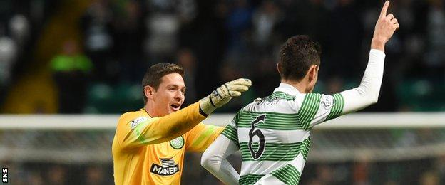 Craig Gordon raced from his goal to help Nir Bitton celebrate making it 5-0