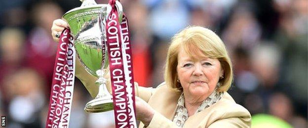 Hearts owner Ann Budge holds the Championship trophy aloft