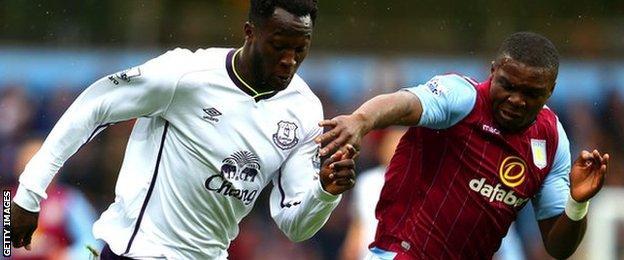 Romelu Lukaku and Jores Okore in action at Villa Park