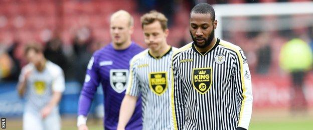 St Mirren players trudge off at Firhill