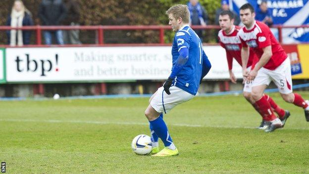 Willie Gibson scores a penalty for Stranraer against Brechin City