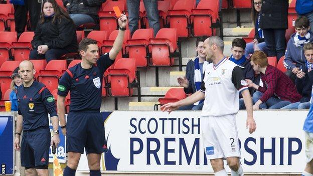 Referee Andrew Dallas sent off Inverness defender David Raven