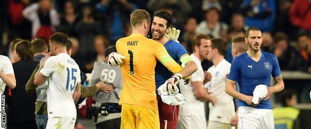 Gianluigi Buffon and Joe Hart