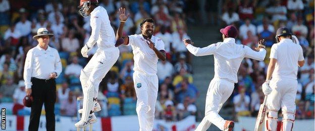 West Indies celebrate the wicket of Moeen Ali