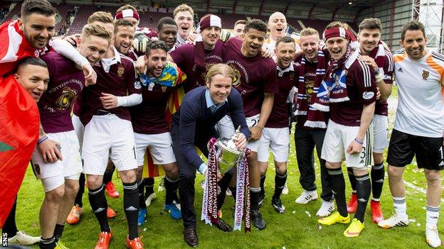 Robbie Neilson and the Hearts players celebrate on the pitch with the Championship trophy