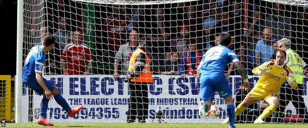 Lloyd James's penalty is saved by Cameron Belford