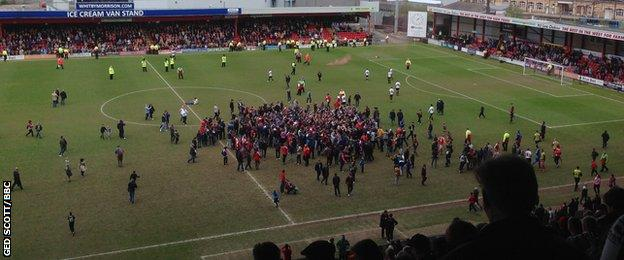 Crewe pitch invasion