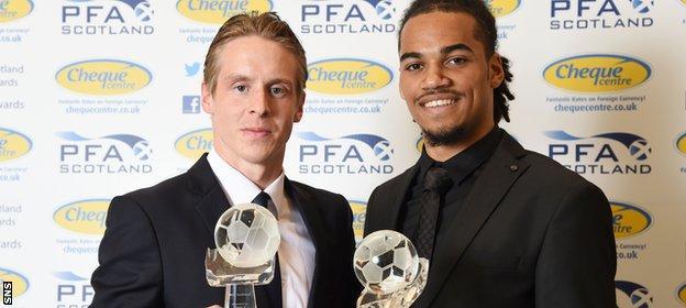 Stefan Johansen (left) and Jason Denayer made it a double celebration for Celtic