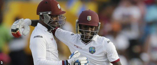 West Indies celebrate their victory over England in Barbados