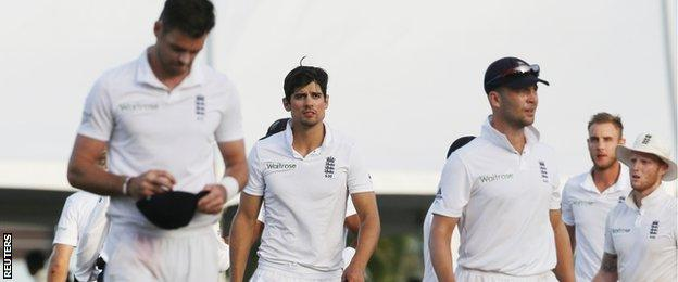 England leave the field after their five-wicket defeat in Barbados