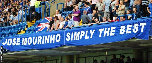 Chelsea fans stand behind a banner dedicated to Jose Mourinho at Stamford Bridge