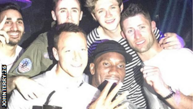 Chelsea's players celebrated their Premier League title success with One Direction's Niall Horan