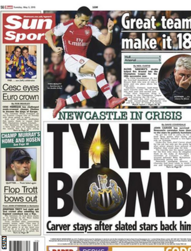 Tuesday's Sun back page