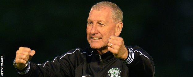 Terry Butcher celebrates with Hibernian