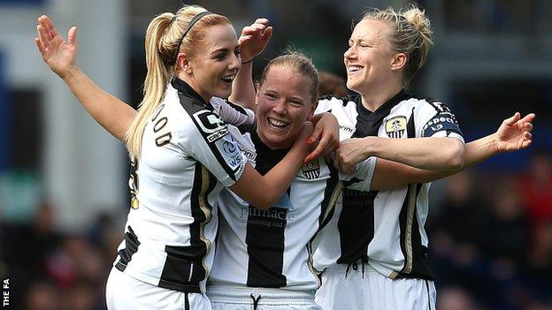 Danielle Buet (c) celebrates scoring against Everton in FA Women's Cup semi-final