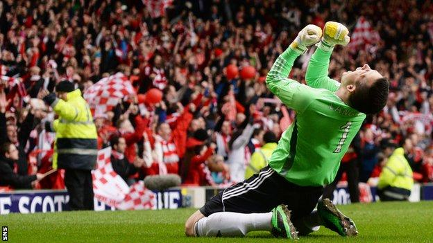 Jamie Langfield was in goals for Aberdeen's League Cup win on penalties over Inverness CT