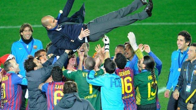 Pep Guardiola celebrates when manager of Barcelona