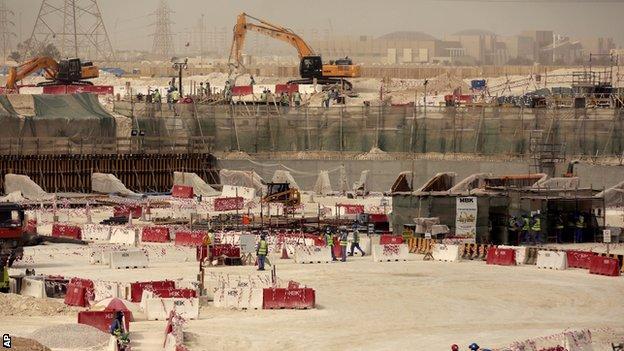 Qatari stadium work in Doha