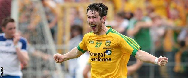 Ryan McHugh celebrates after Donegal's Ulster Final win over Monaghan last year