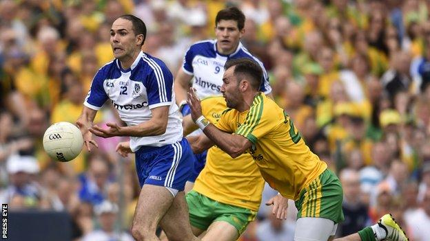 Donegal's Karl Lacey attemps to block a Paul Finlay handpass in last year's Ulster Football Final